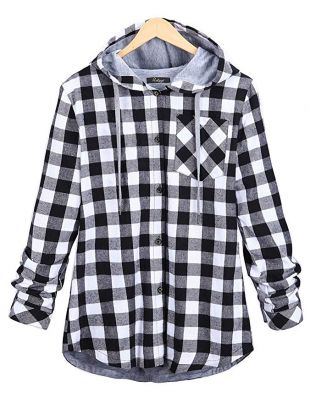 Jenkoon Women's Flannel Plaid Shirts Full Lined Checked Button Down Hooded Shirt
