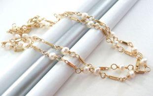 Délicate chaîne perle collier, collier de perle d'eau douce, barre de chaîne à maillons, délicat collier de perle et d'or, cadeau pour elle
