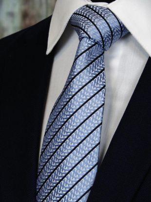 Cravate bleue clair – Mens lumière bleu avec rayure noire cravate de soie