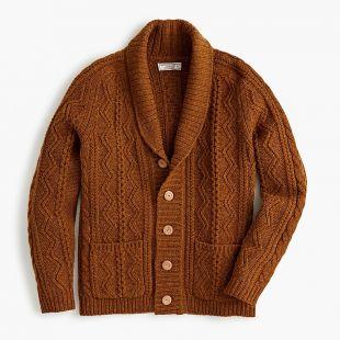 Cable-knit shawl-collar cardigan