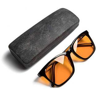 the HEALTH LISTS Blue Light Blocking Reading Glasses for Better Sleep - Amber Orange Computer Filter Anti Eye Strain Lenses by THL Sleep (Black) Large