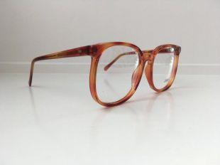 Cannelle: Orange, Brown Vintage Glasses, Oversized Blonde Amber Eyeglass Frames, Oversized Mainstreet Eyeglasses, Clear Demo Lenses, 126