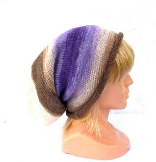 Chapeau femme tricot, tricoter bonnet automne coloré, tricot angora rayé multicolore hiver cap, pourpre brun blanc cloche slouche faits à la main