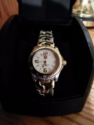 Tag Heuer Link Mens Two-Tone Watch WT1250 18k Gold Bezel and Links