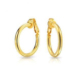 Simple Polished Clip On Tube Hoop Earrings For Women Non Pierced Ears 14K Gold Plated 925 Sterling Silver Brass Clip