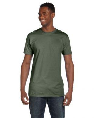 Hanes mens 4.5 oz. 100% Ringspun Cotton nano-T T-Shirt(4980)-Fatigue Green-S-2PK