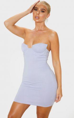 Lilac Winged Bandeau Bodycon Dress
