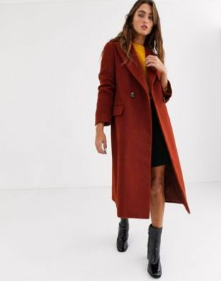 Topshop maxi tailored coat in red   ASOS