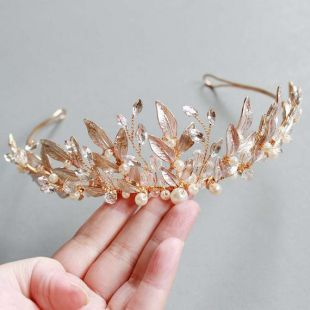 LISALI Pale Rose Gold Floral Tiara,Botanical Bridal Tiara, Rhinestone Tiara, Bridal Crown, Wedding Crown , Bridal Wedding Headpiece Leaf