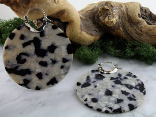 14G Black & Pearl fructose acétate disque boucles d'oreilles/cintres