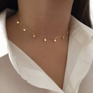 Collier de pièces - Dainty choker - Disk choker - Chain choker - Simple jewelry - 14k gold filled - Minimalist - Gift for her