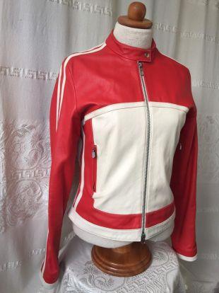 Veste de moto en cuir rouge et blanc Petite taille