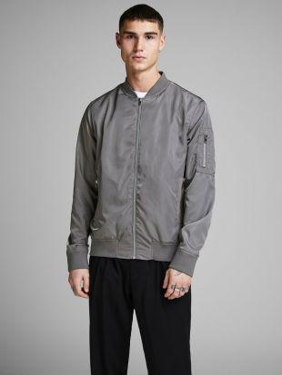 grey casual bomber jacket