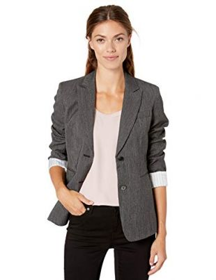 Tahari ASL Women's Two Button ROLL Sleeve Jacket, Black, 12