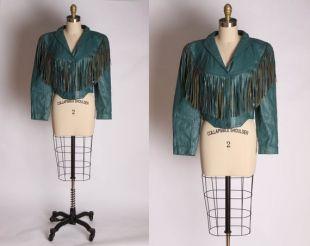 des années 1980 haute vert bleu sarcelle coupe longue Manche veste en cuir frange de cuir véritable -S