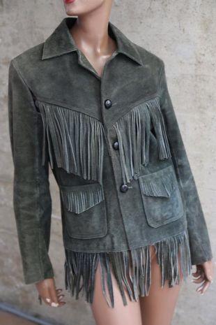 des années 1970 incroyable lisière d'une forêt veste verte couleur rétro interprète chanteur Rocker tendance veste verte Unisexe Vêtements Hippie Style Boho RAD