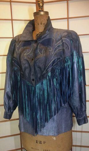 1980S  90s Fringe Leather Jacket Coat Cowgirl Iridescent Amphiboles Southwestern Swarovski Crystal Mermaid Colors Made in Paris France  L-XL