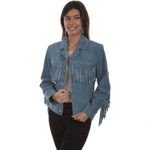 Scully - Scully L1016-193 M Suede Fringed Jacket, Denim - Medium - Walmart.com