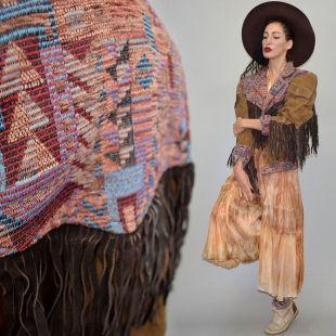 Vintage Boyfriend Bomber Flight Jacket Cuir Suede Poncho Cape Aztec Navajo Native Cowboy Southwestern Tapestry Fringe Tassel Blanket Wrap