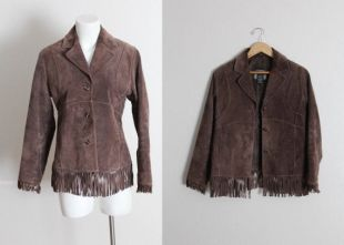Vintage marron daim cuir frange veste Vintage frange veste Vintage marron frange veste Vintage frange veste en cuir/taille Small