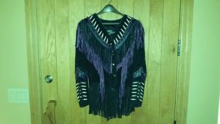 Fabulous Women's Purple Leather Gallery Western Cowboy Cowgirl Leather - Suede Fringe Jacket With Genuine Bone Beading Native American Med Fabulous Women's Purple Leather Gallery Western Cowboy Cowgirl Leather - Suede Fringe Jacket With Genuine Bone Beadi