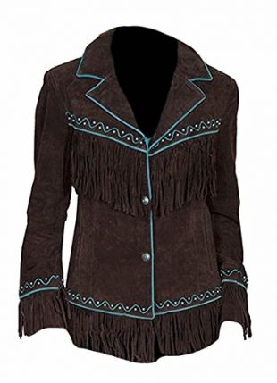 Classyak Women's Western Suede Leather Fringed Jacket Brown Large