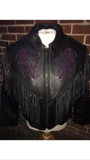 Vintage Medium Leather King cuir noir violet rose western frange biker veste, années 1980, veste en cuir frange, biker babes, hair metal