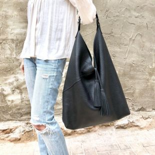 Oversized leather hobo bag, Overnight bag, Slouchy large shoulder bag for work and travel, Large Leather Shopper