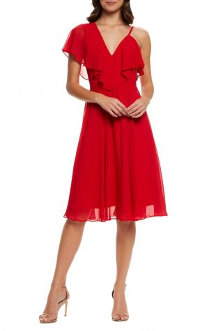Dress the Population Claudia Asymmetrical Ruffle Cocktail Dress | Nordstrom