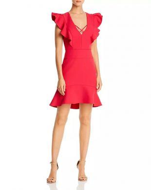 BCBGMAXAZRIA Ruffle Crepe Cocktail Dress