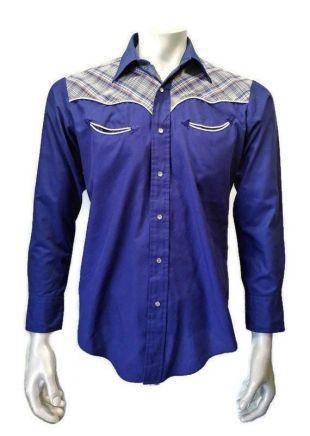 Vintage Palermo Homme Homme À manches longues Blue Pearl Snap Cowboy Shirt Taille Moyenne