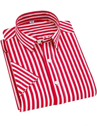 ERZTIAY Men's Casual Business Vertical Striped Button Down Short Sleeve Dress Shirts