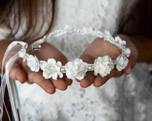 Première communion cheveux couronne - blanc cassé couronne de cheveux pour fille et adulte - mariage couronne florale - bandeau floral mariage - Communion vigne de cheveux