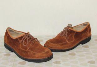 Daim marron Vintage WOJ Lace Up Split Toe loafer casual chaussures de marche taille 7,5/41,5