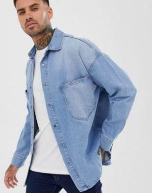 Pull&Bear - Surchemise en jean - Bleu