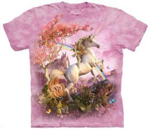 Mountain Awesome Unicorn Adult Size T-shirt , Pink , Large