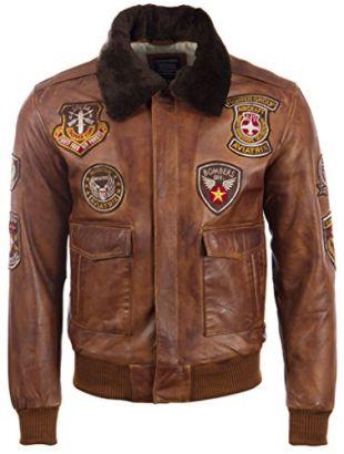 Aviatrix Hommes Cuir Veritable Classique Aviateur Veste avec Badges Speciaux (JWR3)