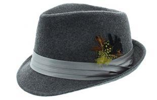Milani Bucket Feathered Fedora-Gray
