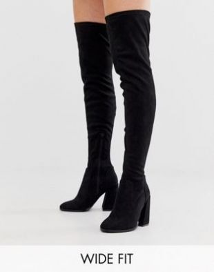 Wide Fit Wide Leg Korey heeled thigh high boots in black
