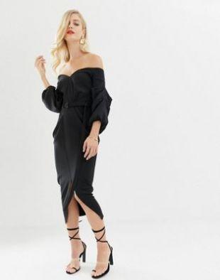 ASOS DESIGN - Robe mi-longue style Bardot à manches évasées et double ceinture | ASOS