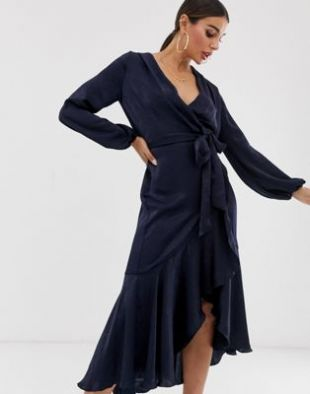 Flounce London - Robe portefeuille mi-longue - Bleu marine | ASOS