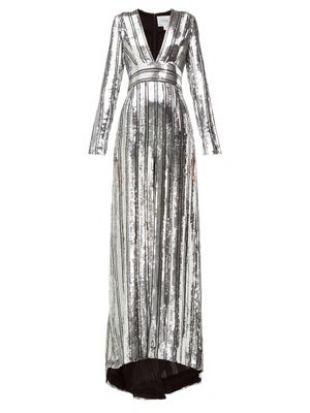 Robe longue en mousseline à sequins Stardust | Galvan | MATCHESFASHION FR
