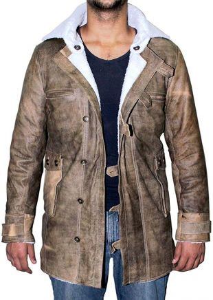 Bane Tom Hardy The Dark Knight Rises Faux Shearling Real Leather Coat Jacket