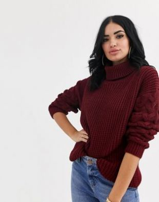 PrettyLittleThing cable sleeve knitted jumper in burgundy