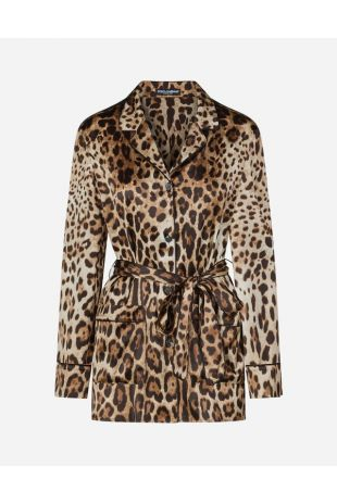Leopard-Print Satin Pajama Shirt