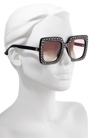 Crystal Embellished Square Sunglasses
