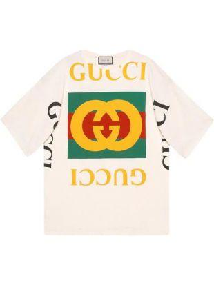 Oversized Logo Print White Shirt