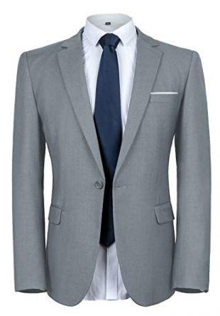 YIMANIE Men's Blazer Slim Fit Casual Suit Coat One Button Business Lapel Suit Jacket Sports Coat Light Gray