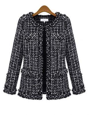 MocL Women's Elegant Slim Fit Crew Neck Plaid Outwear Plus Size Tweed Frayed Trim Cardigan Blazer Long Sleeve Suit Coat Black 3XL
