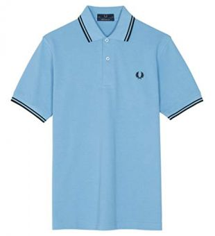 Fred Perry Made in England Twin Tipped Polo Shirt, Style M12, Sky Blue with Black Stripes, Size 36